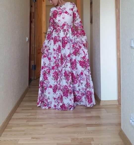 bfb08ed7b7 Sukienka długa maxi kwiaty rozkloszowana MODITO