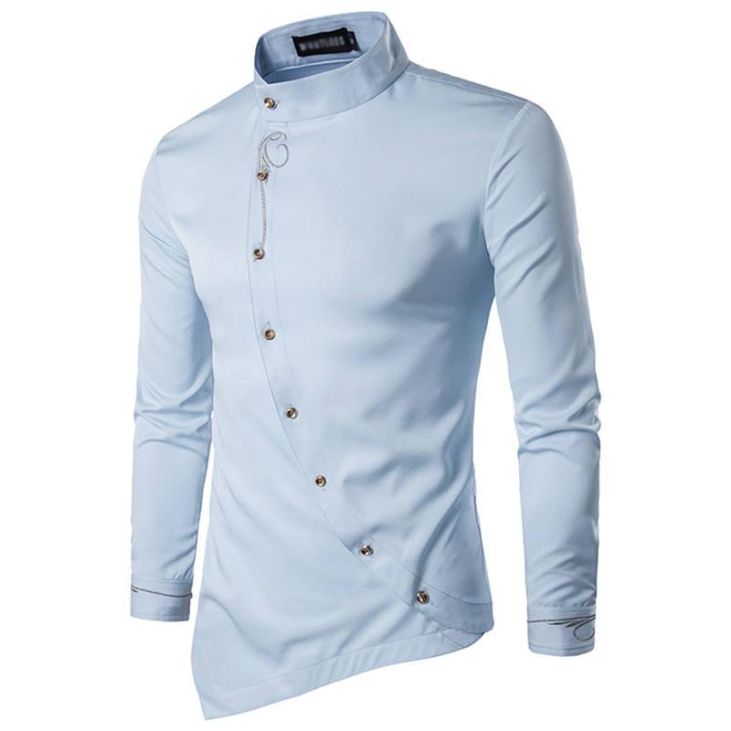 0987440d54a8ca Elegancka koszula męska z oryginalnym zapięciem i stójką Fitsu