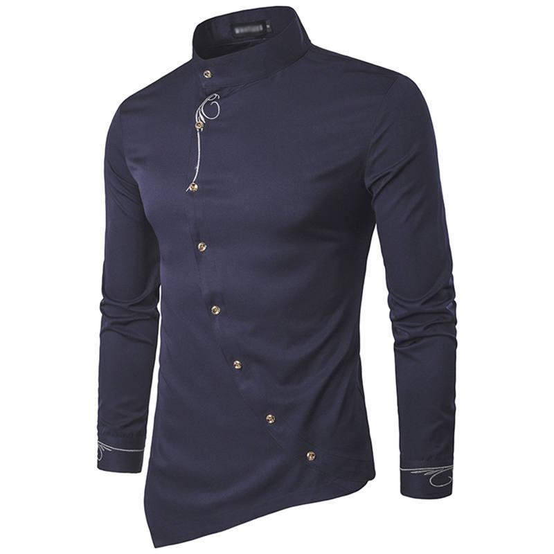 11a911612 ... Elegancka koszula męska z oryginalnym zapięciem i stójką ...