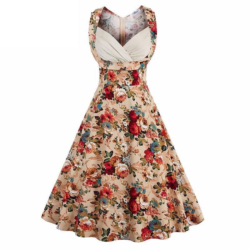 55146c52bf Sukienka rozkloszowana midi koktajlowa kwiaty MODITO