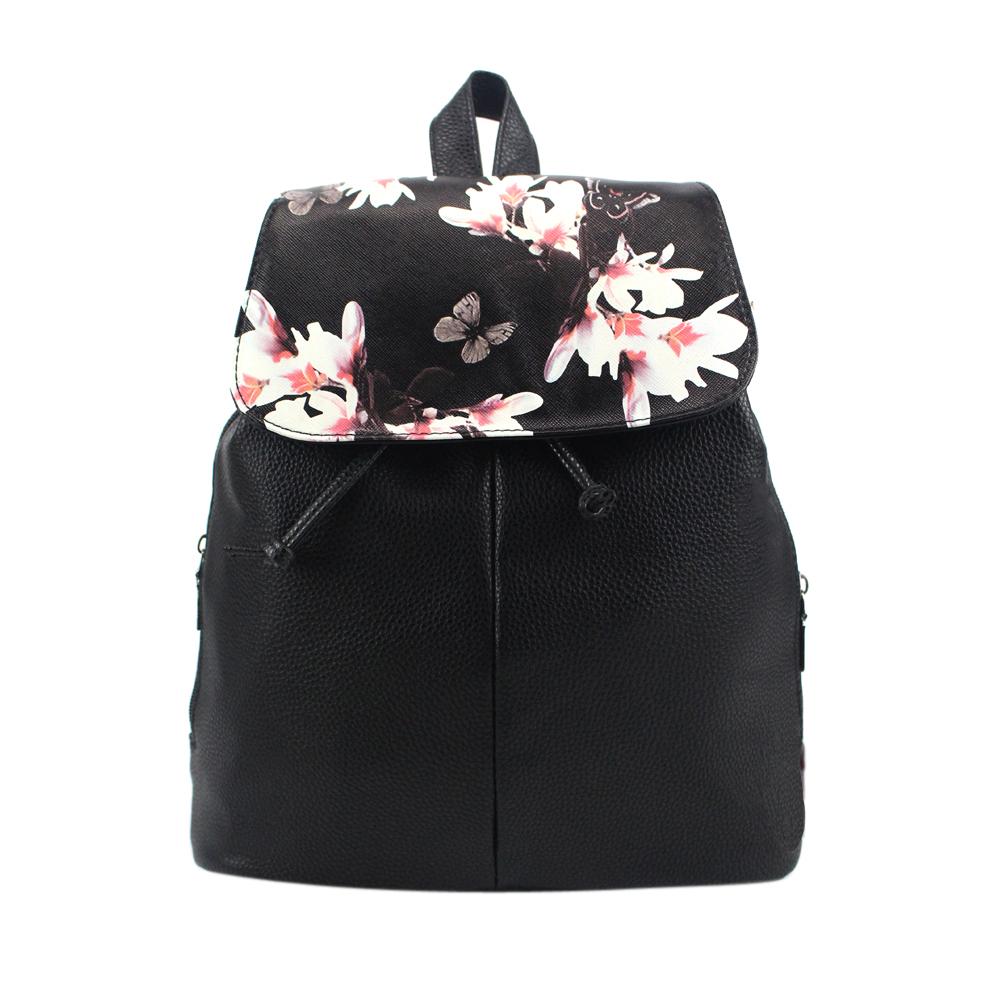 5ae54f967b354 Plecak damski eko skóra kwiat motyl glamour czarny MODITO