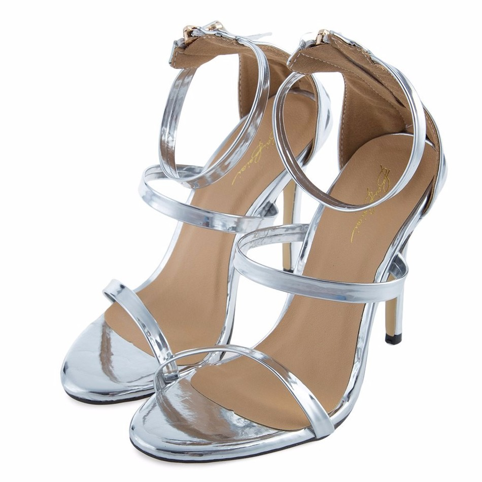 paski sandały srebrne szpilki