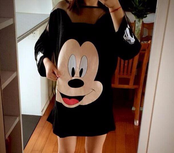 Sukienka tunika myszka miki disney oversize czarna