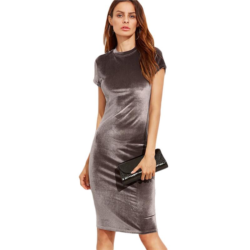 555ecb238f Sukienka welurowa obcisła klasyczna ołówkowa szara MODITO