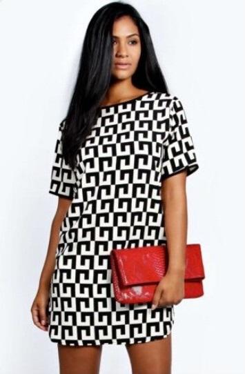 21fe16d56b Damska trapezowa sukienka geometryczne wzory s - xxl MODITO