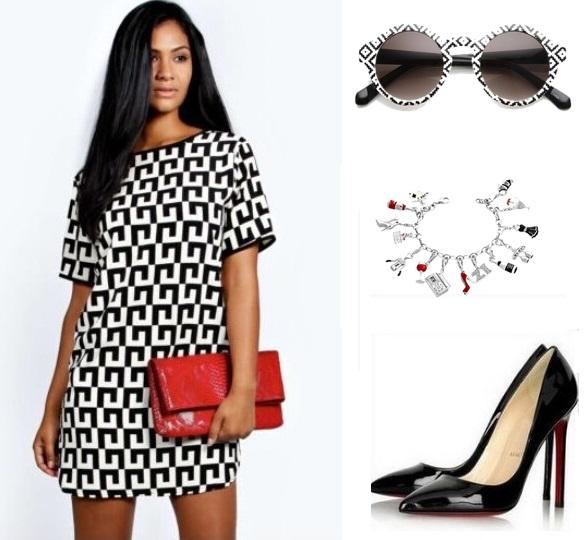 91890cfa59 ROZMIAR S -XXL. Czarno-biała klasyczna trapezowa sukienka ...