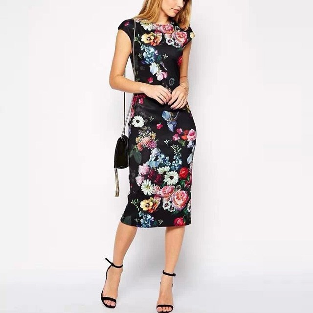 4857d01167 Granat Ołówkowa Sukienka Midi Kwiaty Wesele Modito