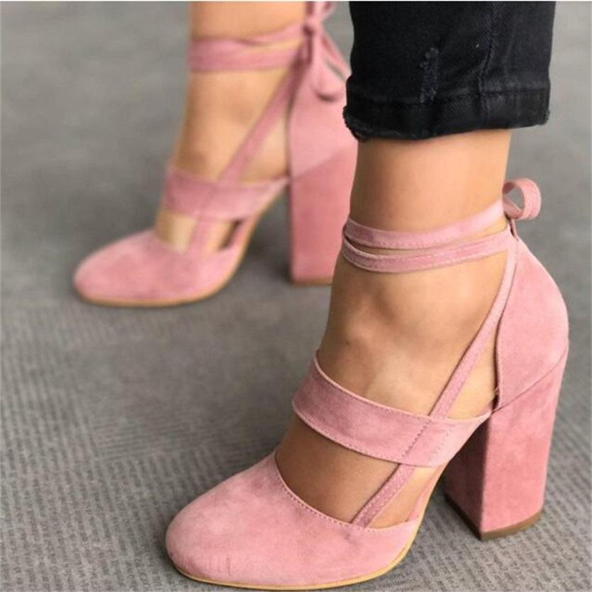 119e5f55 ... Buty damskie na słupku sandały wiązane na kostce ekozamsz ...