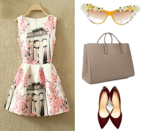 8b0bc91f2e Rozkloszowana sukienka na okazje różne wzory s-m MODITO