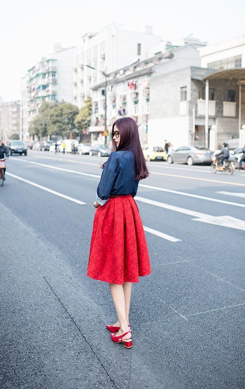 Spódnica czarna czerwona niebieska midi kontrafałdy pin up